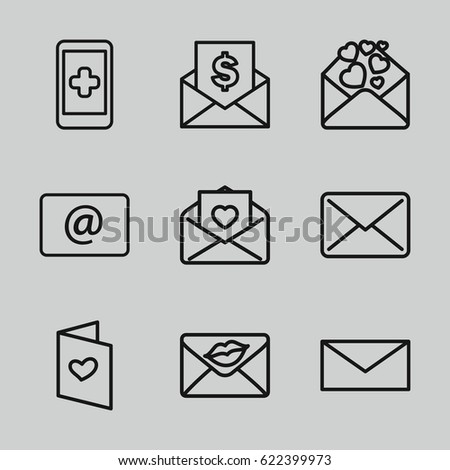 Email icons set. set of 9 email outline icons such as mail, love letter, email, envelope with dollar bill - Shutterstock ID 622399973