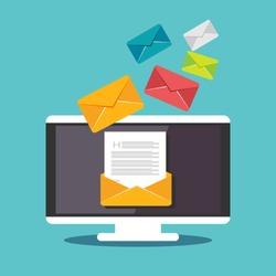 Email illustration. Sending or receiving email concept illustration. flat design. Email marketing.