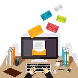 Email illustration. Sending or receiving email concept illustration. flat design. Email marketing. Broadcast email.