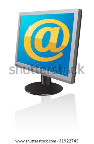 Email in monitor. A vector. Without mesh.