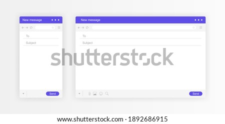 Email interface. Mail window mobile and web template, internet message isolated frame, blank email. Modern flat style vector illustration.