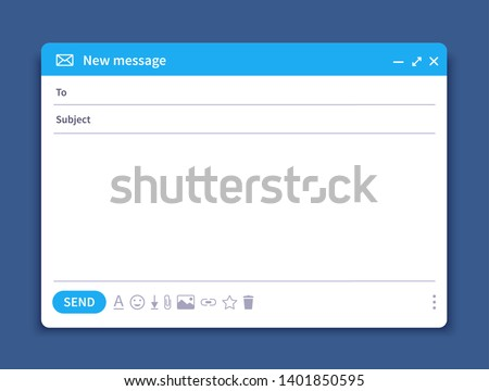 Email interface. Mail window template, internet message isolated frame, blank email UI design. Vector email window mockup illustration page
