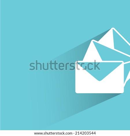 email, letter, blue background