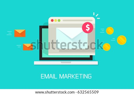Email marketing campaign vector illustration, flat cartoon laptop computer screen with browser window and email newsletter conversion to money flow, income from e-mail campaign