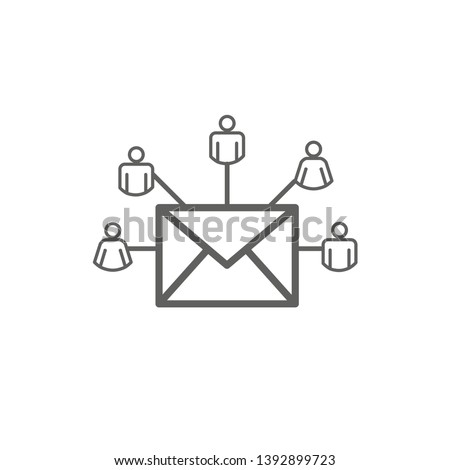 Email marketing campaigns icon w  envelope being sent to multiple recipients