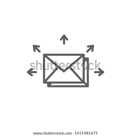 Email marketing campaigns icon with  envelope being sent to multiple recipients