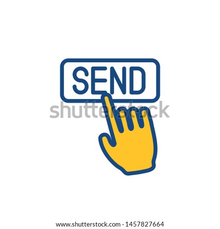 Email marketing campaigns icon with  send button being pushed