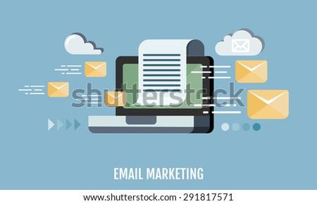 Email marketing concept. Flat design. Vector Illustration.