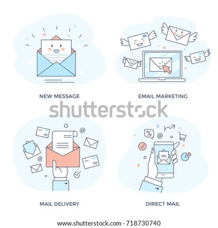Email marketing concept icon set for business promotion, communication, sharing spam and information. Perfect for web interface, mobile applications, infographics and prints. Flat line design.