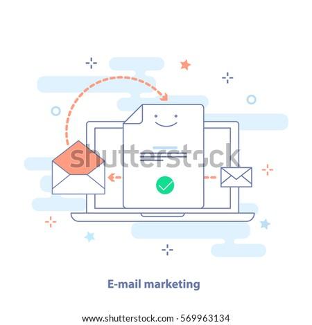 Email Marketing concept. Laptop, the document form, envelope and mail letter. Outline vector illustration in light colors. Premium quality illustration design for website, app or banner.