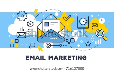 Email marketing concept on blue background with title. Vector illustration of open envelope with letter and icons. Thin line art flat style design for web, site, banner, business presentation