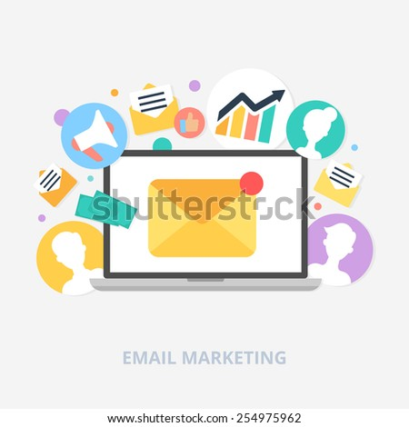 Email marketing concept vector illustration, flat style