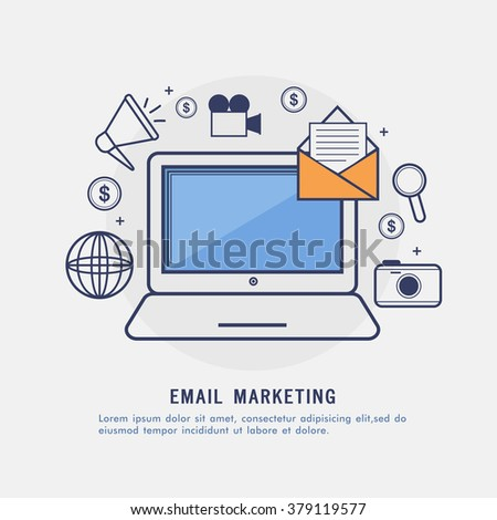 Email Marketing concept with creative Infographic elements and laptop.