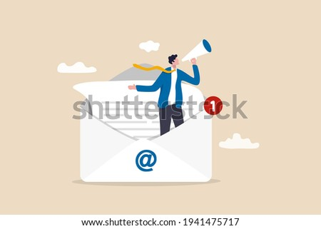 Email marketing, CRM, subscription on web and sending email newsletter for discount or promotion information concept, businessman standing in email envelope announcing promotion through megaphone.