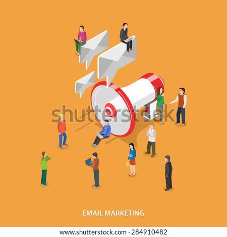email marketing flat isometric