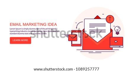 Email marketing idea, newsletter promotion flat line vector iillustration