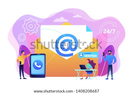 Email marketing, Internet chatting, 24 hours support. Get in touch, initiate contact, contact us, feedback online form, talk to customers concept. Bright vibrant violet vector isolated illustration