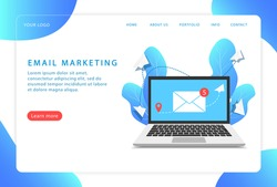 Email marketing, mail service. Landing page. Modern web pages for web sites.