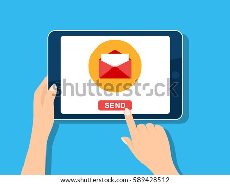 Email marketing template. E-mail management, message online, social media, newsletter. Hand holding tablet computer screen. Vector icon isolated on blue. Flat design template for website, mobile app.