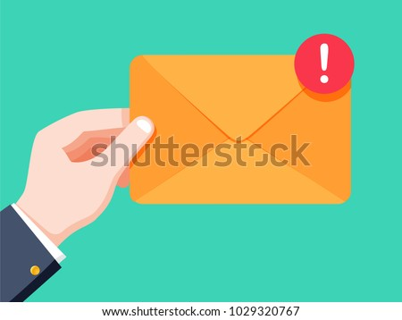 Email message concept. New, incoming message, sms. Hand holding envelope, letter. Delivery of messages, sms. Mail notification sending messages Coming messages. Incoming post or notice