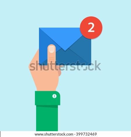 Shutterstock Email message concept. New, incoming message, sms. Hand holding envelope, letter. Delivery of messages, sms. Mail notification, sending messages. Get mail, chat message. Coming messages.