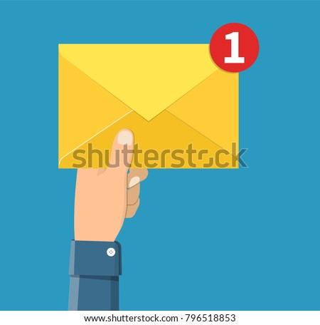 Email message concept. New, incoming message, sms. Hand holding envelope, letter. Delivery of messages, sms. Mail notification sending messages Coming messages