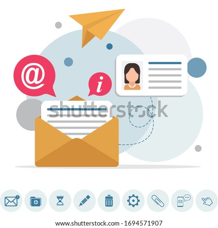 Email message, Infographic, Working process, Social network, Searching mail, New incoming message, Mail sending. Flat email messages inbox
