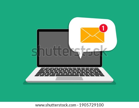 Email message on screen in laptop. Laptop with envelope on screen. Message reminder concept. Newsletter on computer. Email receiving symbol, service, notification, email, new message.