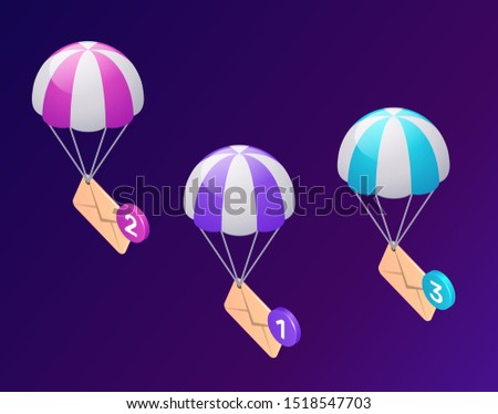 Email message service icons, isometric concept vector illustration. Flying or parachuting icon envelopes, unread messages isolated on ultraviolet background