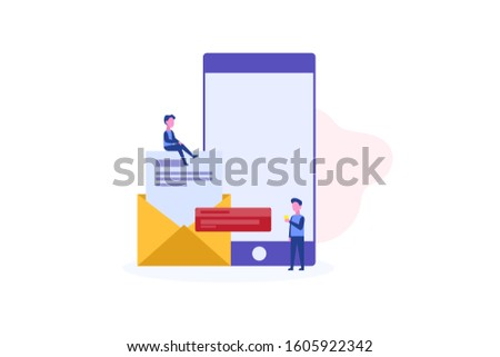 Email notification illustration concept for web landing page template, banner, flyer and presentation