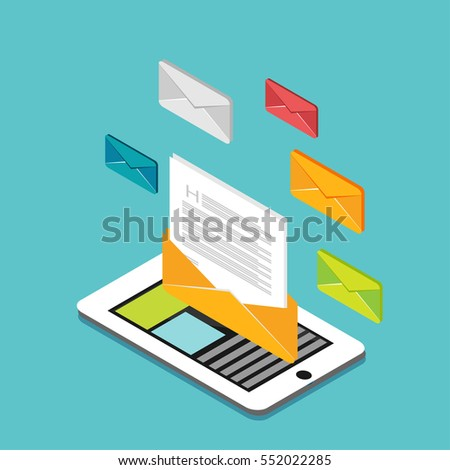 Email or business messages. Communication concept. Modern isometric illustration for Web Banner , Website Element , Brochures , or Book cover