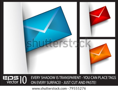 Email paper tag with transparent shadows. Ready to cut and paste on every surface.