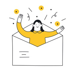 Email search, open new mail envelope. The cute cartoon woman checks the email, opened the envelope, and celebrating. Thin outline vector illustration on white.