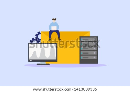 Email service. Electronic mail message. Webmail or mobile service. Newsletter sending background. Email Server vector illustration concept for web landing page template, banner, flyer