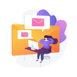 Email service, online correspondence, internet communication. Electronic mail box, message bunch, incoming letters. Female addressee cartoon character. Vector isolated concept metaphor illustration.