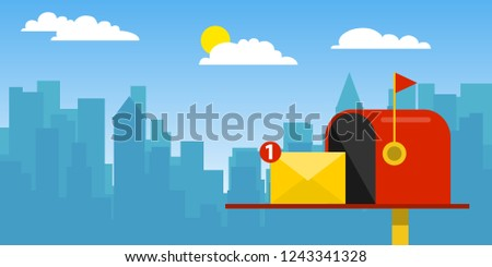 Email subscribe, online newsletter vector template with mailbox and submit button.    Vector illustration