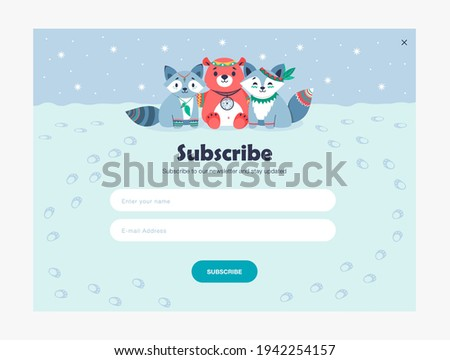 Email subscription design with cute tribal animals. Online newsletter template with subscribing button and tracks on snow. Forest wildlife and woodland concept. Design for website illustration