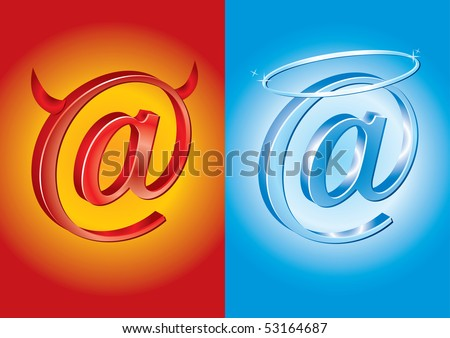 Email symbol - Bad Vs Good - Vector licence - stock vector