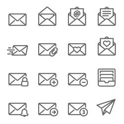 Email Vector Line Icon Set. Contains such Icons as Inbox, Letter, Attachment, Envelope and more. Expanded Stroke