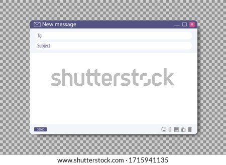 Email window template on browser page. Blank message layout for web design. Flat mail box with address form for user ui. Online screenshot email to send on isolated background. Search form. vector
