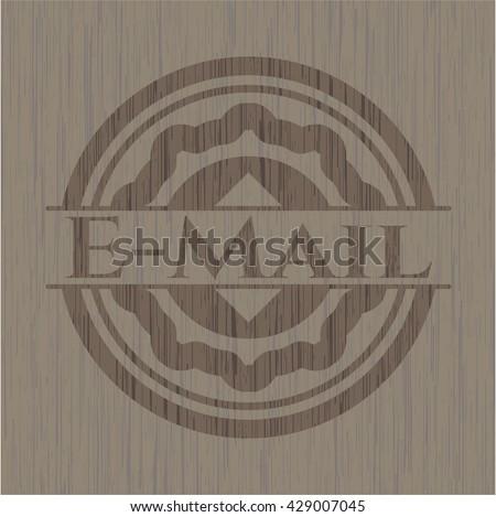 Email wooden emblem. Vintage.