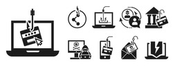 Emails phishing icon set. Simple set of emails phishing vector icons for web design on white background