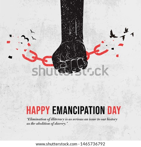 Emancipation Day, Human hand and broken chain with the bird symbols, Freedom Day, Vector illustration, Juneteenth Day, Liberation Day