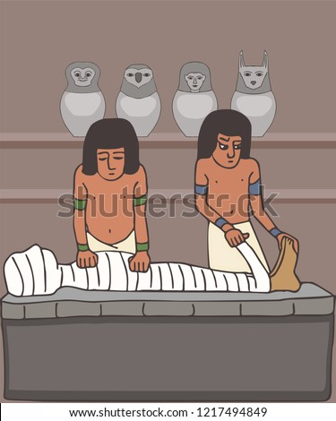 embalmers treating the mummy, historic cartoon of ceremonial rituals from Ancient Egypt