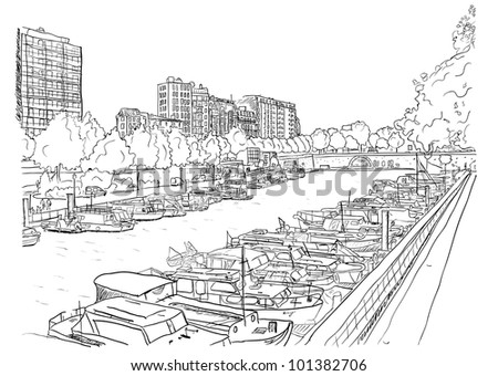 Embankment of the river with the ships. Vector illustration eps8.