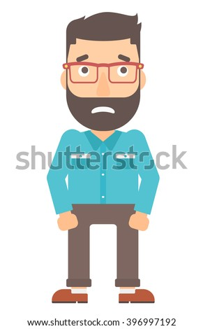embarrassed hipster man