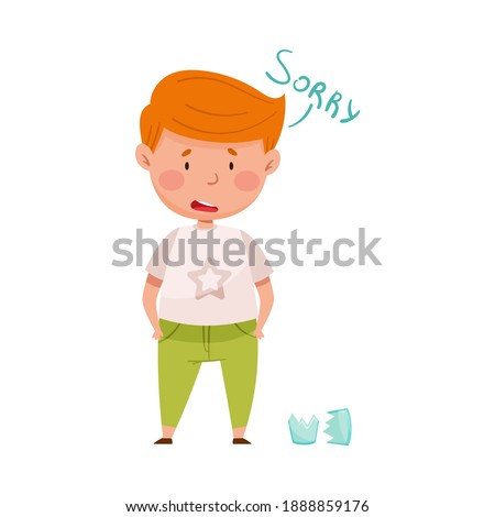 Embarrassed Little Boy with Guilty Look Demonstrating Sorrow and Begging Pardon for Broken Glass Vector Illustration Foto d'archivio ©