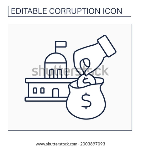 Embezzlement line icon.Embezzling money crime. Stealing from government budget. Theft or misappropriation of funds. Corruption concept. Isolated vector illustration. Editable stroke Сток-фото ©