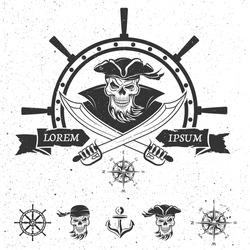 Emblem and  a set of pirate themed design elements.