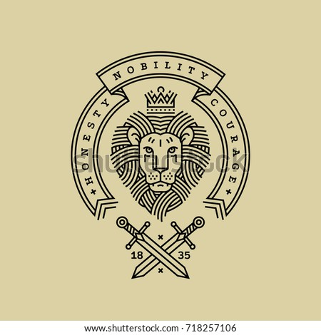 Emblem, badge with a head of royal lion, ribbon, motto and swords in the style of engraving of linear design for a premium logo or coat of arms. Lion with a crown symbol of power, strength, security.